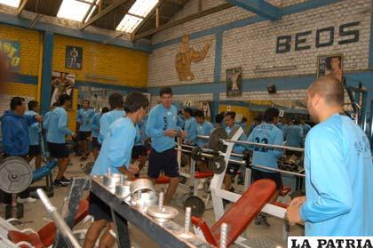 Los jugadores de San José, realizan su trabajo físico en el gimnasio Beos