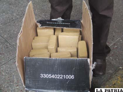 La droga estaba en el interior de cajas