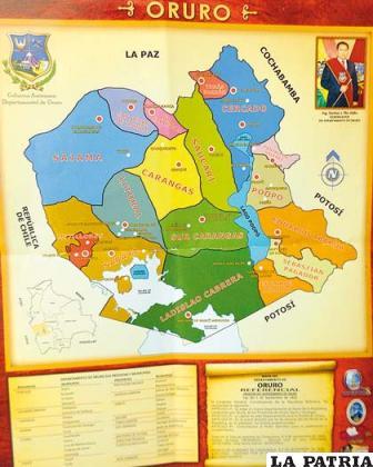 Lámina del mapa del departamento de Oruro distorsionado