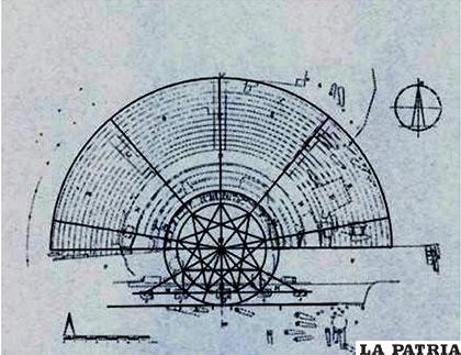Proyección de Vitruvio, para un teatro el mismo se cumple finalmente en Oruro