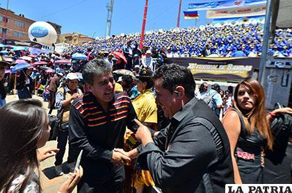 Orlando Andia (Llajtaymanta) y Pastor Cámara (Valeno) se encontraron en el festival
