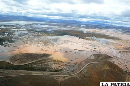 Panorámica actual del lago Uru Uru
