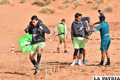 El equipo de San José realizó una labor física ayer en la arena