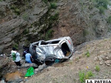 La vagoneta quedó destruida tras el embarrancamiento /Frecuencia Policial