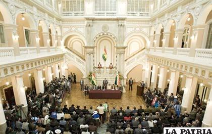 Palacio de Gobierno durante la promulgación de la Ley de Autonomías
