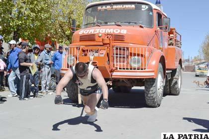La prueba del arrastre de camión