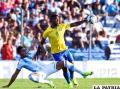 Una acción del partido en el cual Argentina venció a Brasil