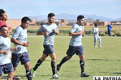 Zerda, Ayala, Montesinos y García durante la práctica de ayer