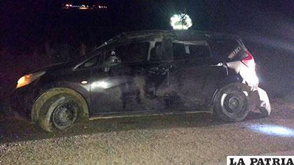 El coche que sufrió el vuelco