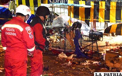 Restos de la explosión ocurrida el Sábado de Carnaval