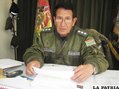 El director de la Felcc, Cnl. Jorge Villavicencio