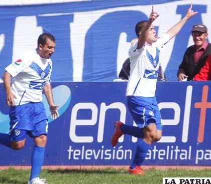 Bruno Juárez y Carlos Vargas autores de los goles de San José, cuando jugaron ante Blooming el pasado fin de semana.
