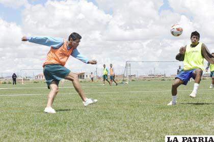 Luis Torrico en el entrenamiento de ayer