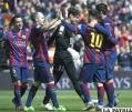 El festejo de los jugadores de Barcelona
