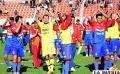 Alegría en los jugadores de Universitario por el triunfo en Potosí /APG