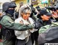 Gabriela Zapata luego de la suspensión de su audiencia /APG