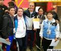 Los entrenadores orureños junto al expositor de taller Sergio Santos
