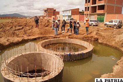 Inspección realizada ayer al proyecto de alcantarillado en la urbanización Pumas Andinos /ALDO