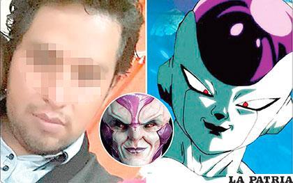 La fotografía de Herrera difuminada y la comparación que hizo la Policía de su perfil con el anime.  En recuadro la foto real que publicó el presunto autor en su Face