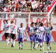 Futbolistas de Real Potosí celebran uno de los tres goles ante nacional Potosí