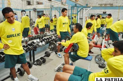 Durante el trabajo físico de San José en el gimnasio Beos ayer por la tarde