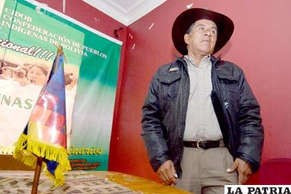 Adolfo Chávez, presidente de la Cidob asegura que la única forma de paralizar la novena marcha es abrogando la Ley 222 de Consulta Previa (Foto APG)