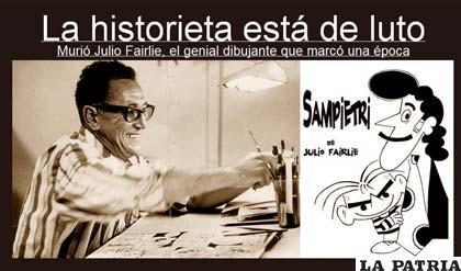 El dibujante y una de sus creaciones (Foto Ziadelahistorietaperuana.blogspot.com)