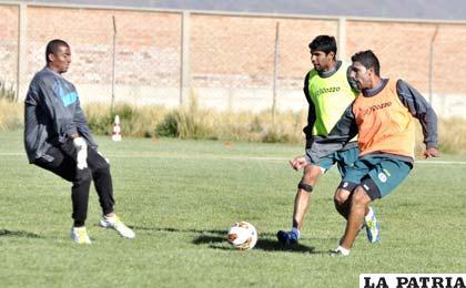 Barahona, Tordoya y Ruiz en el entrenamiento de San José