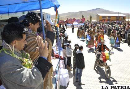 Morales anunció la construcción de la vía en Catacora
