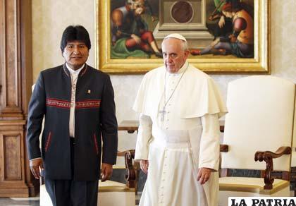 El Presidente de Bolivia junto al Papa Francisco /Foto archivo