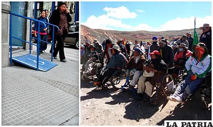 A la izquierda, un acceso para personas con discapacidad; a la derecha quienes protagonizan la caravana y están a pocos kilómetros de llegar a Caracollo