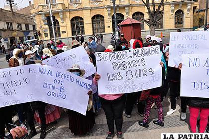 Movilización de las trabajadoras sexuales en el centro de la ciudad