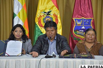 Tras la firma de convenio se destacó la importancia del terreno para que Oruro cuente con un hospital oncológico