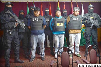 Los delincuentes de la banda criminal fueron presentados ayer /LA PATRIA