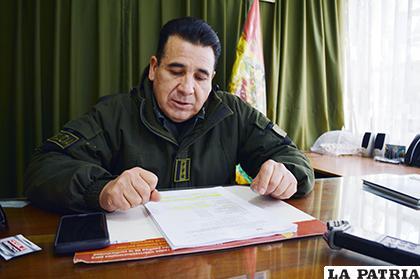 El director de la Felcc, coronel Manuel Vergara dio a conocer el informe