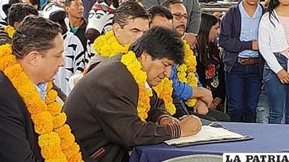 Morales promulgó la norma en la ciudad de Tarija/ANF
