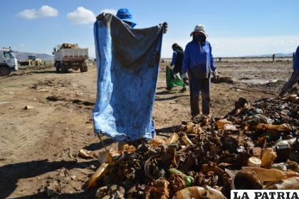 Después de recoger los residuos, los llevaban en bolsas de yute hasta un punto de acopio