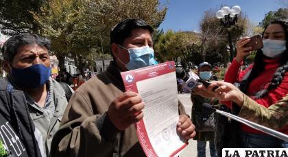 Ricardo Choque, representante de la Federación de Choferes San Cristóbal /LA PATRIA