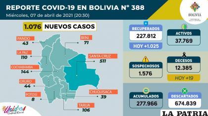 Bolivia registró 19 decesos por Covid-19  /Ministerio de Salud