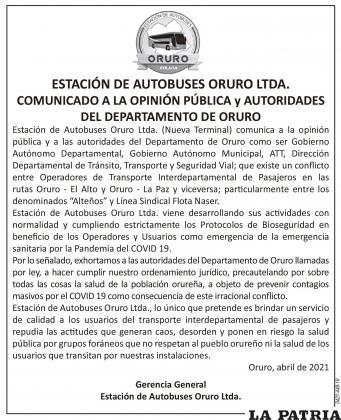 ESTACIÓN DE AUTOBUSES ORURO LTDA. COMUNICADO A LA OPINIÓN PÚBLICA y AUTORIDADES DEL DEPARTAMENTO DE ORURO