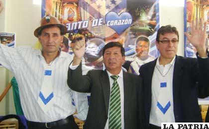 Ferrufino, Fernández y Jaimes ayer en la presentación