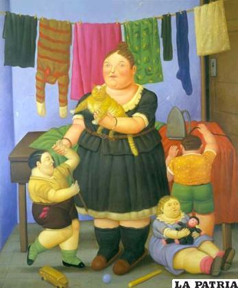 Una de las muestras con el característico estilo de Botero