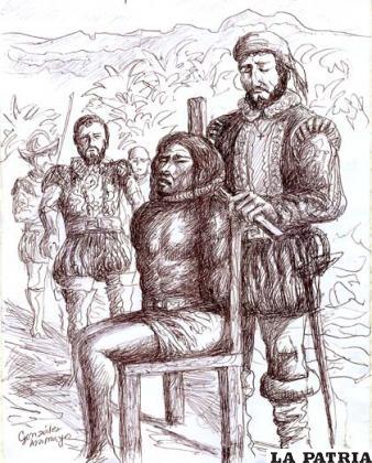 Muerte de Atahuallpa por garrote, dibujo de Vicente González Aramayo