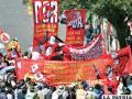 Contundente marcha de trabajadores se desarrolló en la sede de gobierno