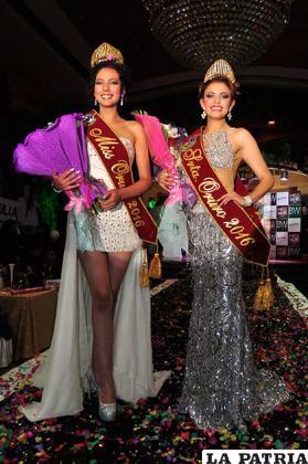 Julia Méndez, Miss Oruro 2016, y Yesica Salcedo, Señorita Oruro 2016