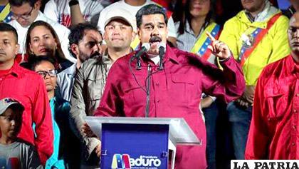 El presidente venezolano, Nicolás Maduro, tras proclamarse vencedor /20m.es