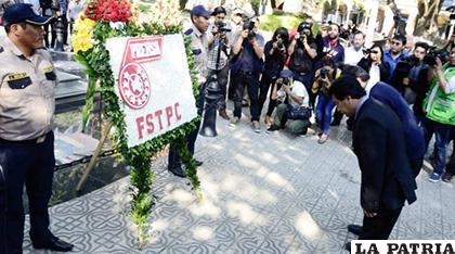 La Federación Sindical de Trabajadores de la Prensa de Cochabamba hizo una ofrenda floral por el Día del Periodista /ANF