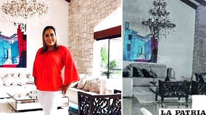 Una captura de imagen del spot de la magistrada y una foto de la casa de Montenegro, allanada por la Policía /LA PRENSA