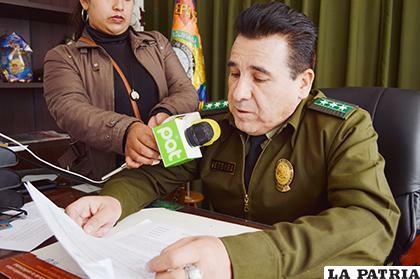 El director de la Felcc, Coronel Manuel Vergara informó el hecho /LA PATRIA