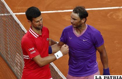 Novak Djokovic y Rafa Nadal tras la final en el Masters de Roma /laritica.com